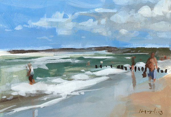 """Walking the Beach - Quick Study"" original fine art by David Lloyd"