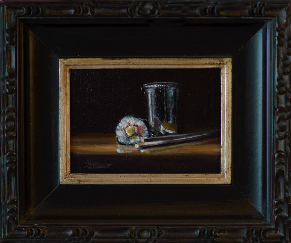 """Silver Cup and Sushi"" original fine art by Garry Kravit"
