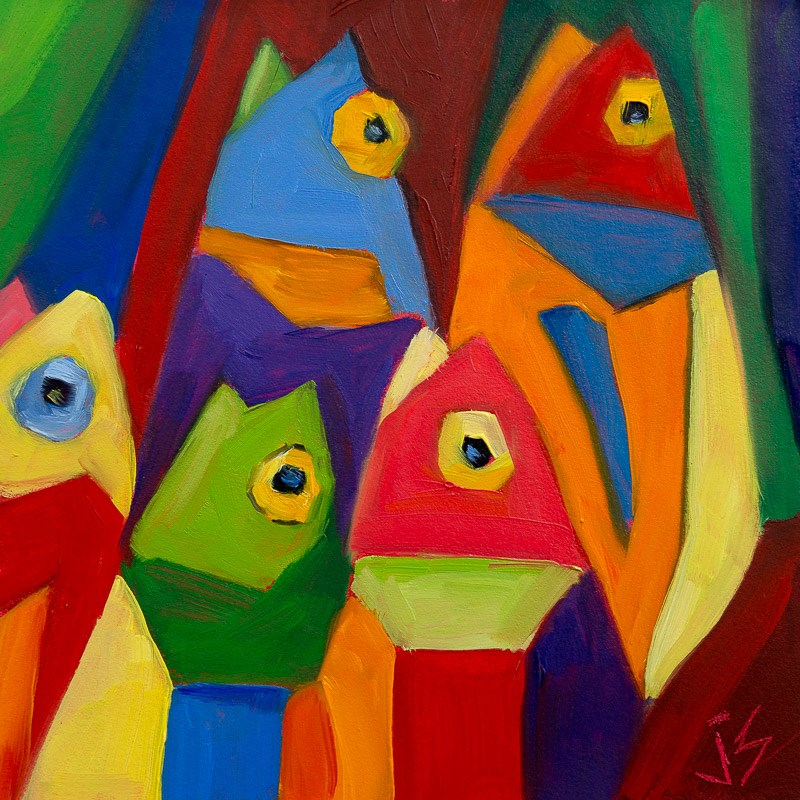 """Cube Fish"" original fine art by Johnna Schelling"