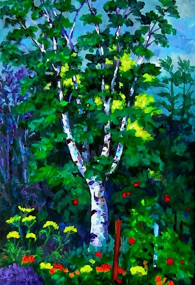 """A Garden in Terrace (Anne & Bruce's Garden) the study"" original fine art by Patricia Musgrave"