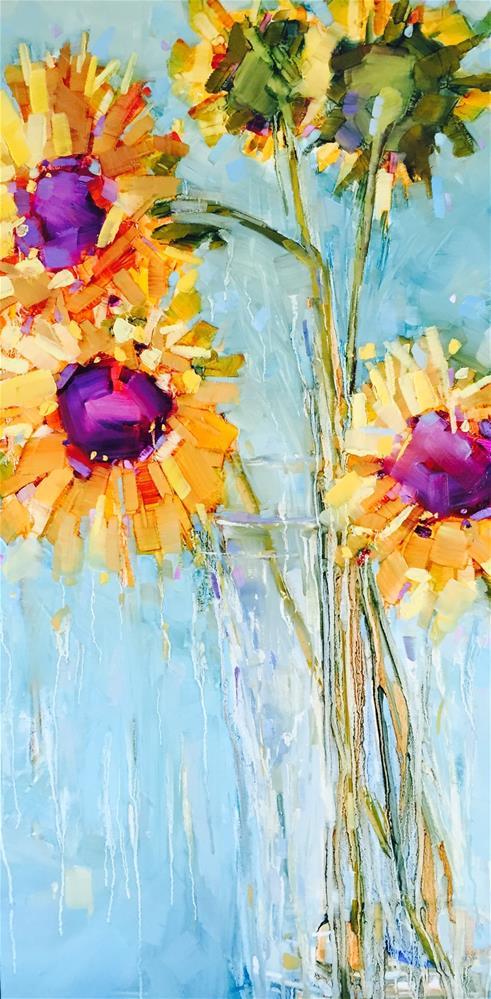 """Complementing Sunflowers"" original fine art by Kathleen Broaderick"