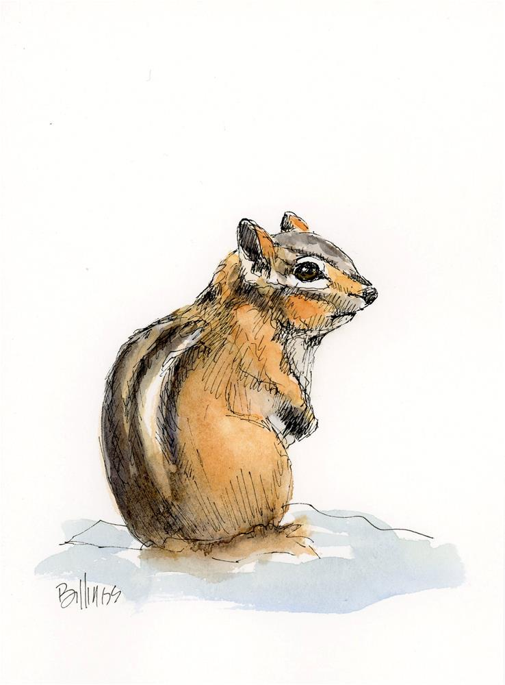 """Chipmunk Study"" original fine art by Susanne Billings"
