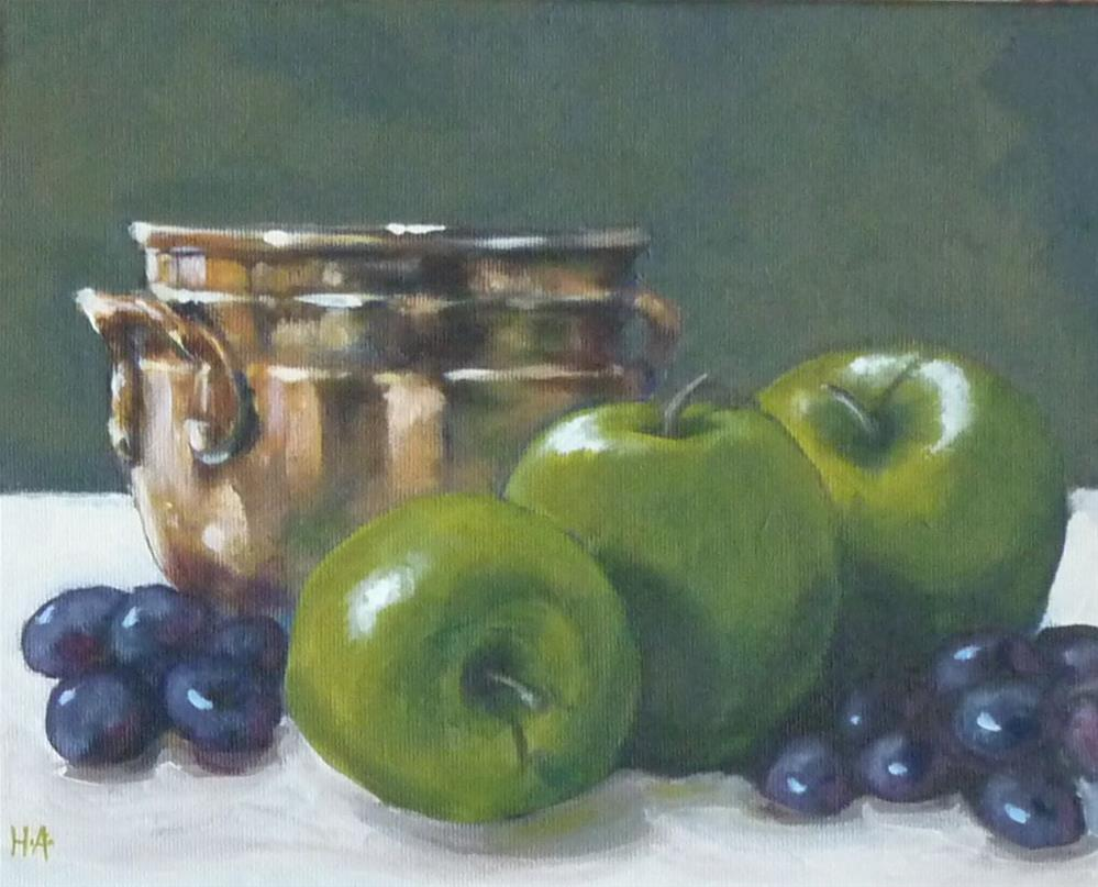 """Green Trio"" original fine art by Helene Adamson"