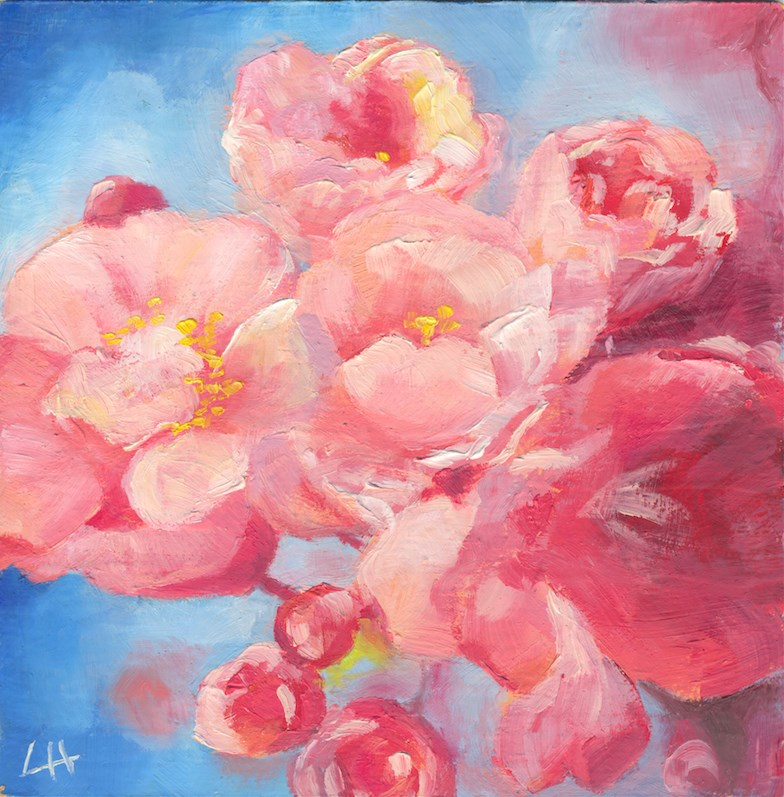 """blooming pinck cherry"" original fine art by Hui (Hue) Li"