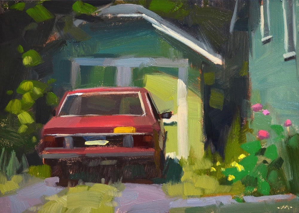 """Parked in Green"" original fine art by Carol Marine"
