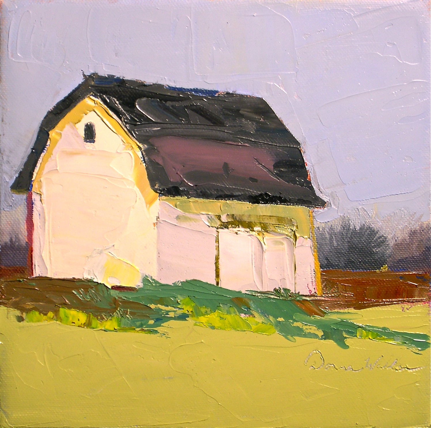 """White Barn"" original fine art by Donna Walker"
