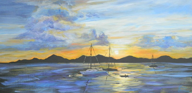 """Sunset Anchorage #2"" original fine art by Gloria Urban"