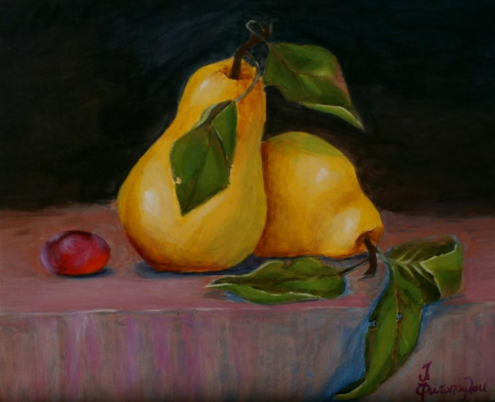 """pear of pears"" original fine art by Joann Polos"