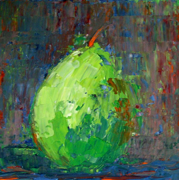 """Green Pear"" original fine art by Anna Vreman"