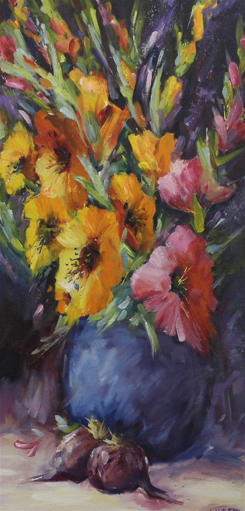 """Oil gladiolus floral flower painting impressionism"" original fine art by Alice Harpel"