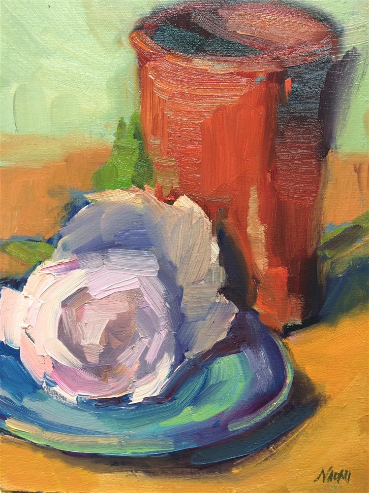 """Flowers and bottle"" original fine art by Naomi Bautista"