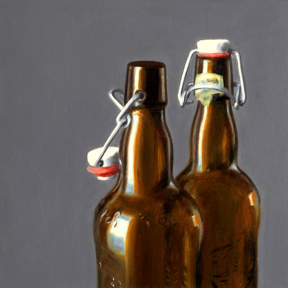 """Brown Bottles"" original fine art by Nance Danforth"
