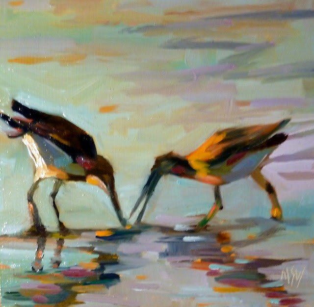 """Gimme That! 6x6     oil on gesso board The gull on the right was running around grabbing at the other gull's finds! Thus the title ;)"" original fine art by Mary Sheehan Winn"