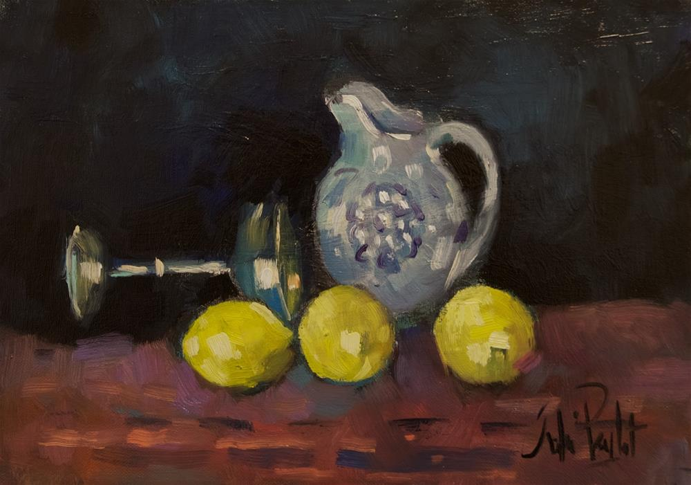 """Still Life, Lemons, Jug and Silver Cup"" original fine art by Andre Pallat"