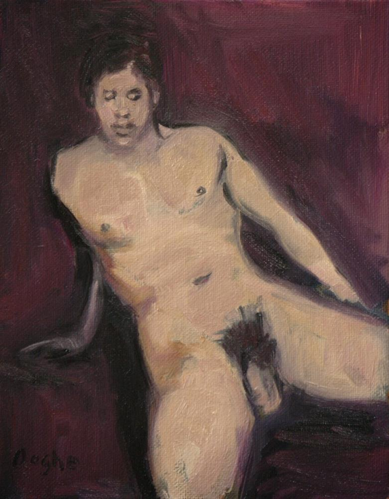 """Male Nude on Burgundy"" original fine art by Angela Ooghe"