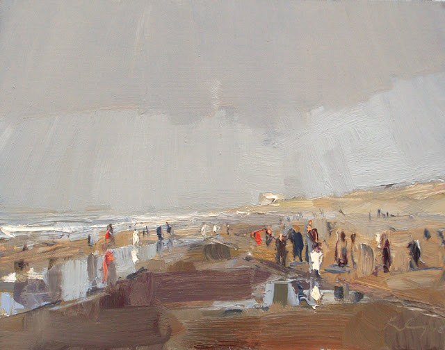 """Seascape winter #25 A little sunshine and crowded winterbeach"" original fine art by Roos Schuring"