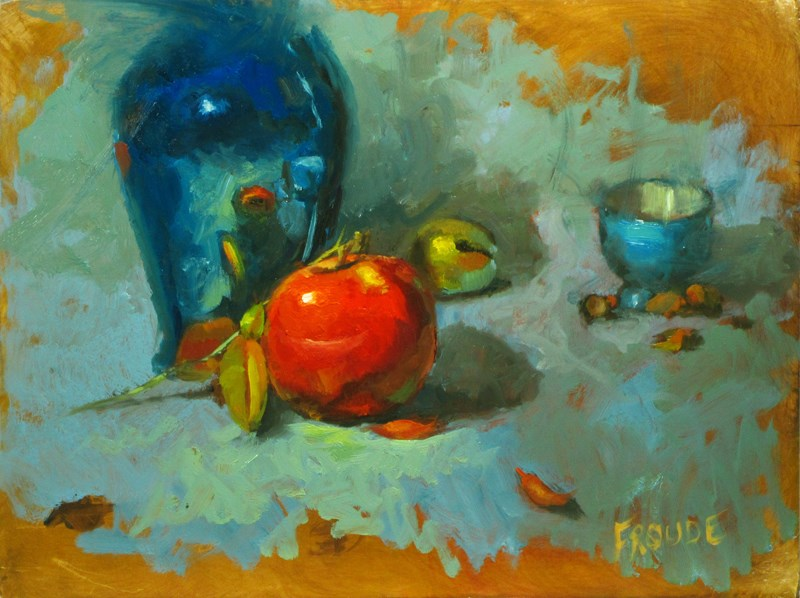 """Red apple with leaves"" original fine art by Dave Froude"