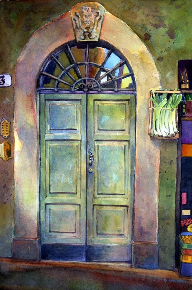 """Watercolor: Italian Door with Leeks (& why do people like images of doors?)"" original fine art by Belinda Del Pesco"