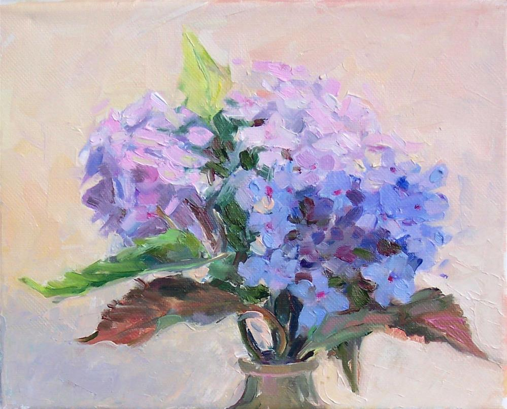 """Pink and Blue Hydrangeas,still life,oil on canvas,8x10,price$300"" original fine art by Joy Olney"