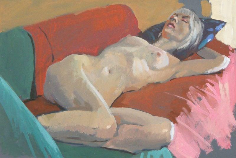 """prone nude"" original fine art by Peter Orrock"