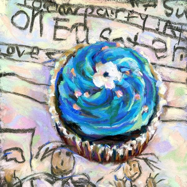 """EASTER ZAHRA - 4 1/2 x 4 1/2 cupcake pastel by Susan Roden"" original fine art by Susan Roden"