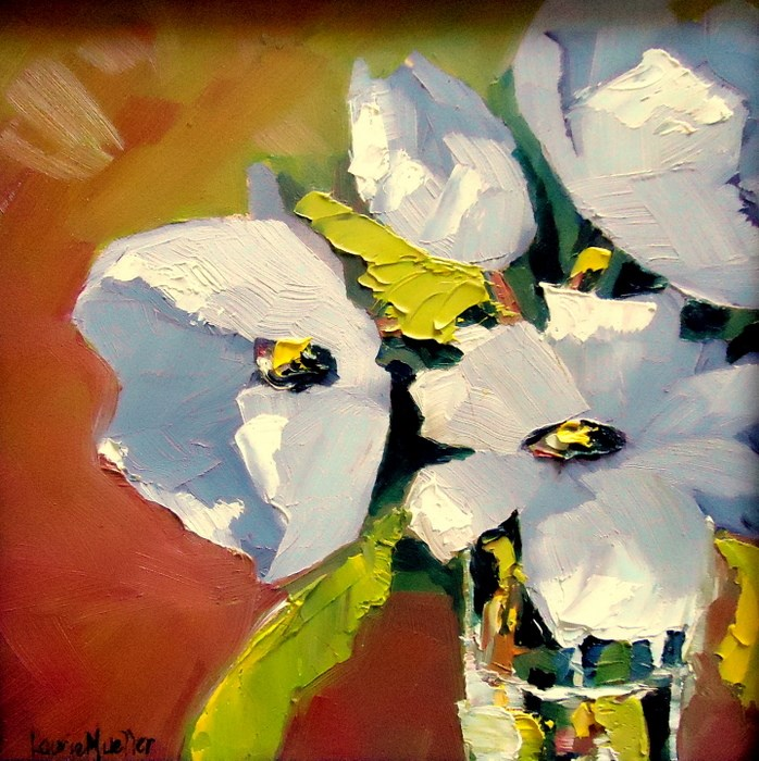 """White Flowers"" original fine art by Laurie Mueller"