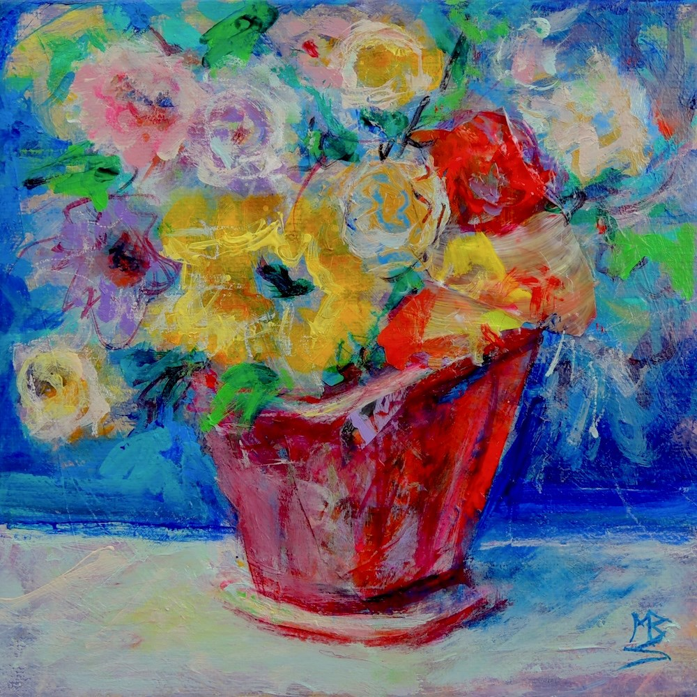 """Red Vase"" original fine art by Mary Schiros"