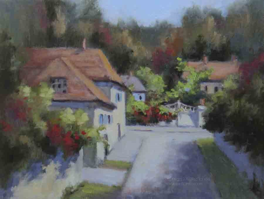 """Road to 27 Rue Claude Monet-Oil"" original fine art by Pat Fiorello"