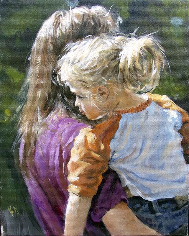 """mom and daughter"" original fine art by Harry Burman"