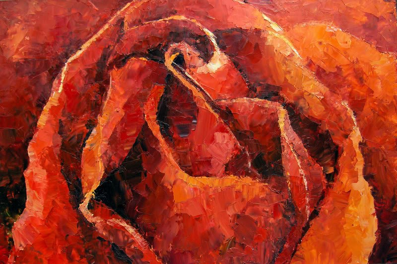 """Single Orange Rose"" original fine art by Nava Judith"