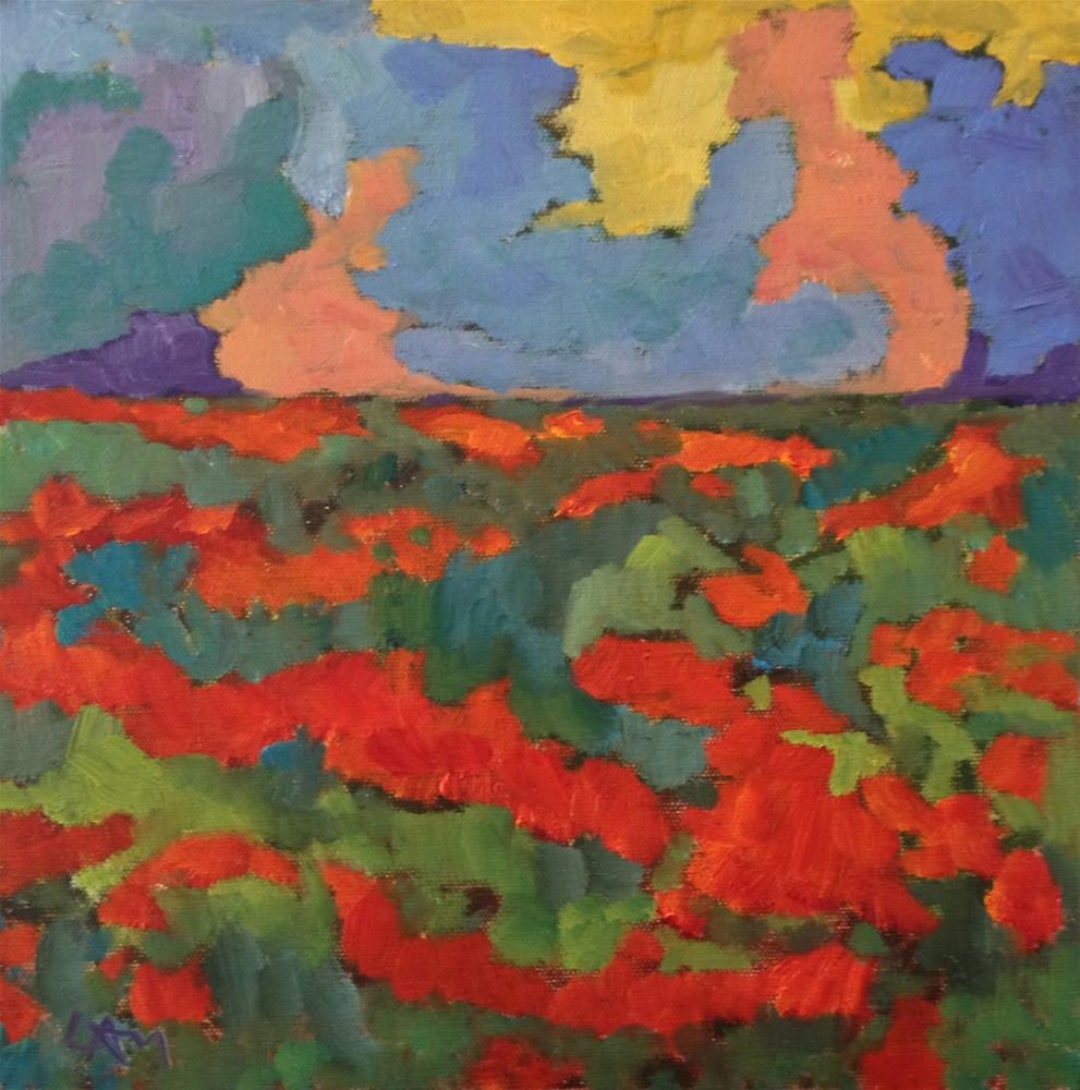 """Poppy Field and Thunder Clounds"" original fine art by Ceci Lam"