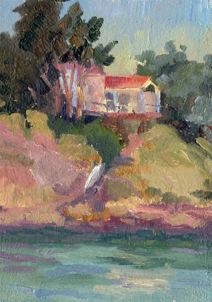 """HOUSE WITH CANOE"" original fine art by Karen E Lewis"