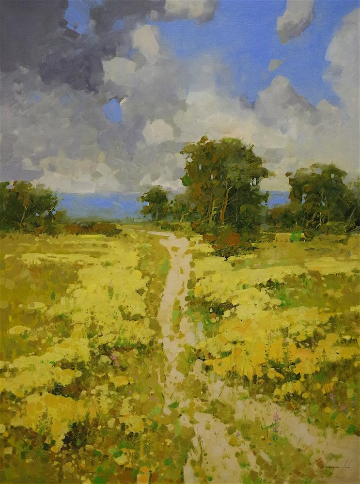 """""""Landscape, Meadow, Large size oil Painting, 48x36, One of a Kind"""" original fine art by V Y"""