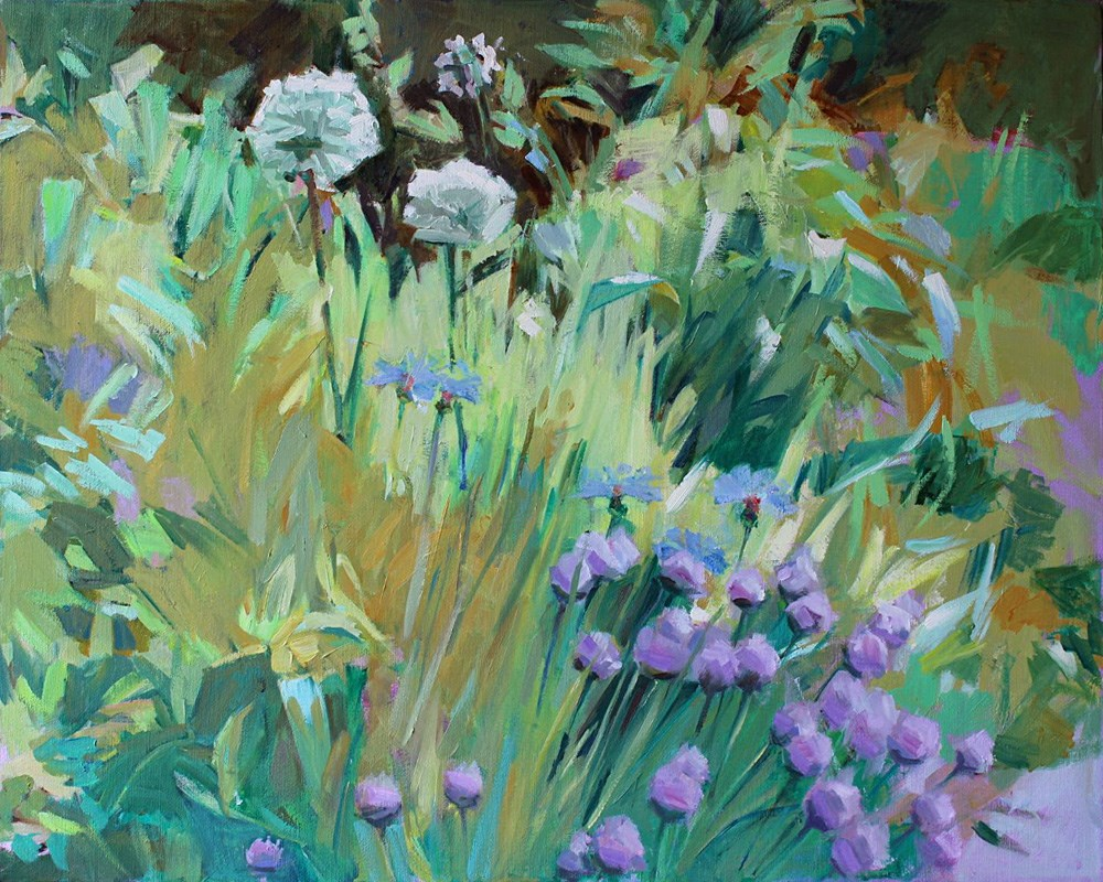 """Purple Chives"" original fine art by Gretchen Hancock"