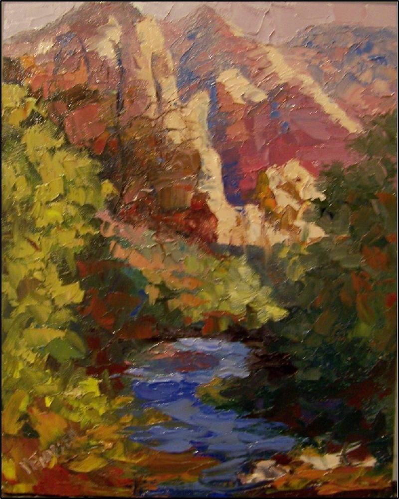 """Summer in Zion, 8x10, oil on board by Maryanne Jacobsen, Zion National park oil painting, small pa"" original fine art by Maryanne Jacobsen"