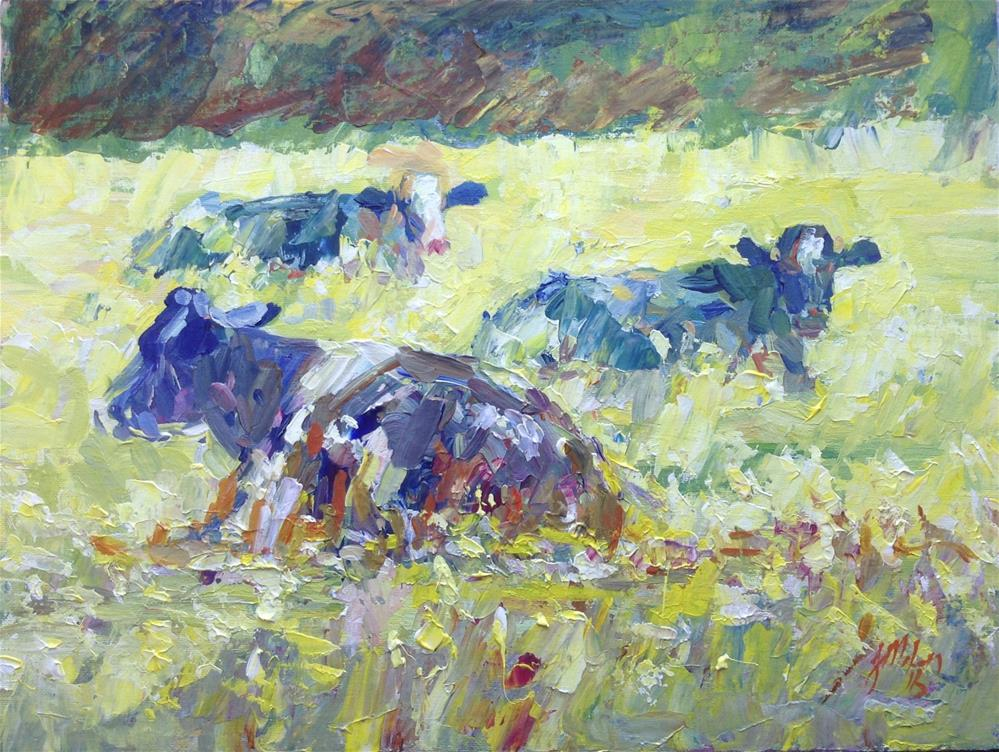 """Three cows"" original fine art by Joseph  Mahon"