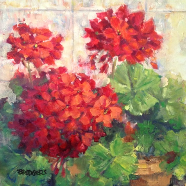 """Geranium Joy"" original fine art by Lindy Bridgers"