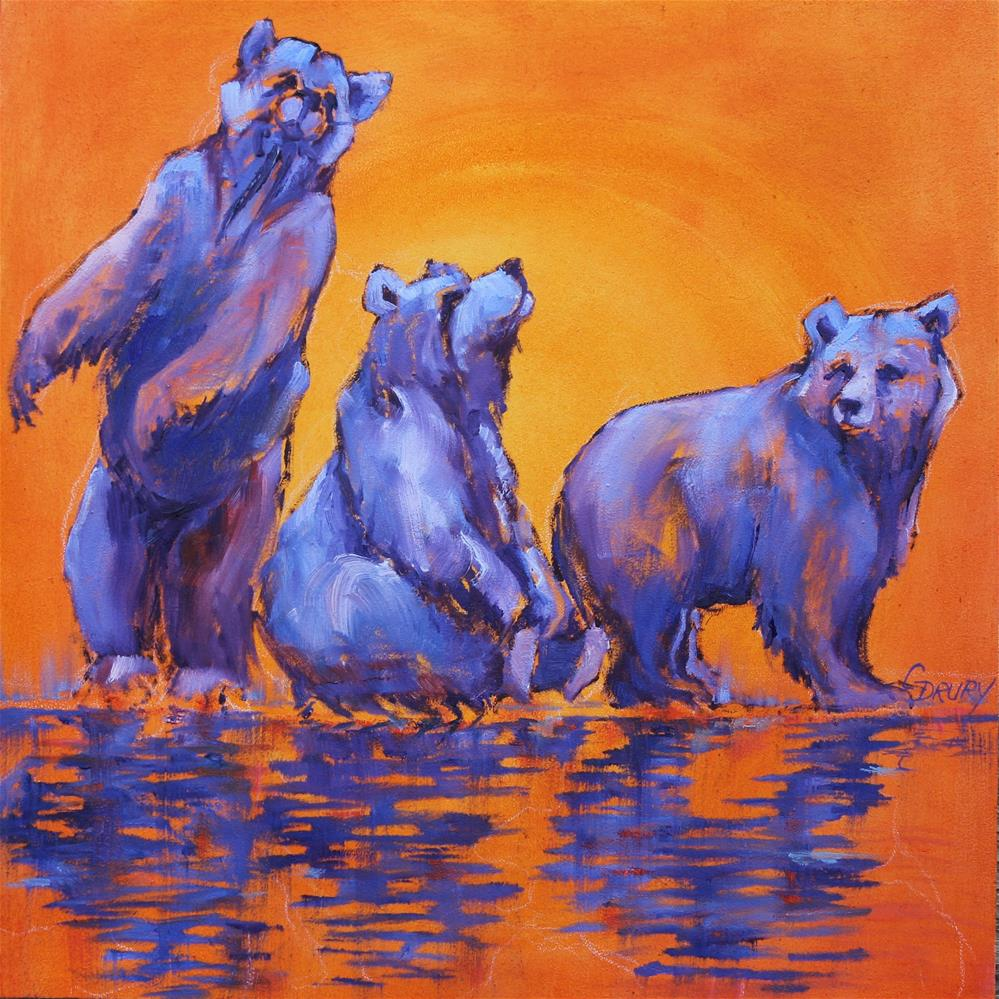 """Yoga Bear"" original fine art by Colleen Drury"