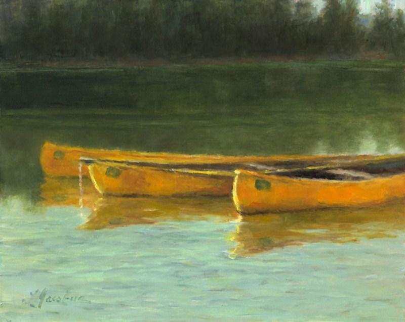 """Canoes on Bass Lake"" original fine art by Linda Jacobus"