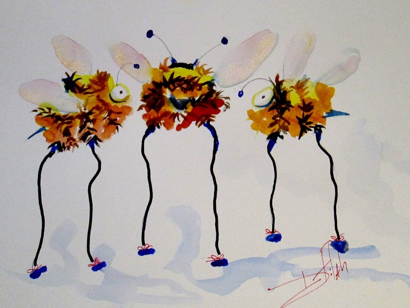 """Long Legged Bees"" original fine art by Delilah Smith"