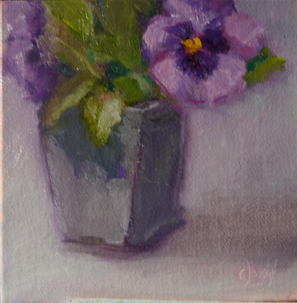 """Purple Pansies"" original fine art by Carol Josefiak"