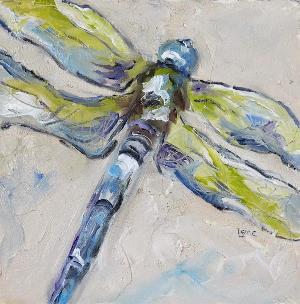 """DRAGONFLY IN GREEN AND BLUE ORIGINAL OIL ON TEXTURED 4X4 PANEL © SAUNDRA LANE GALLOWAY"" original fine art by Saundra Lane Galloway"