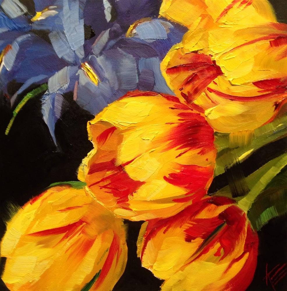 """Tulips & Irises"" original fine art by Krista Eaton"