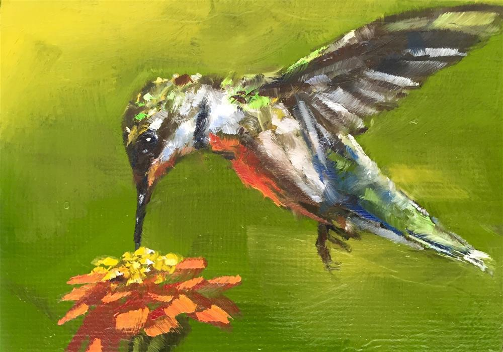 """Hummer and Zinnia"" original fine art by Gary Bruton"