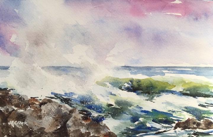 """""""Red Sky at Morning..."""" original fine art by Judith Freeman Clark"""