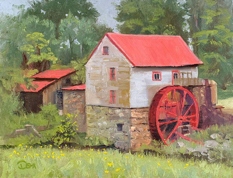 """Misty Day at the Mill"" original fine art by Don Stewart"