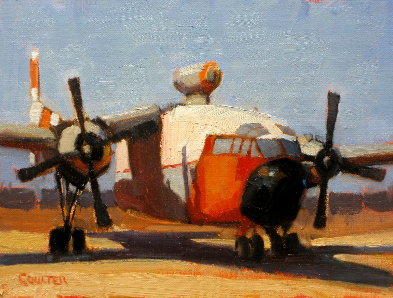 """ORANGE PLANE"" original fine art by James Coulter"