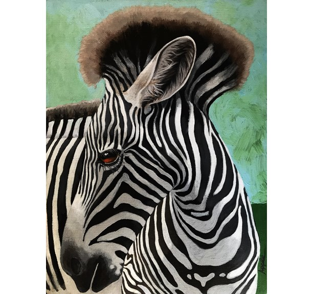 """Baby Zebra wild animal realistic portrait nature painting by Linda Apple"" original fine art by Linda Apple"
