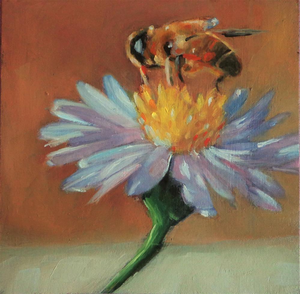 """Bee on a flower"" original fine art by Maria Z."