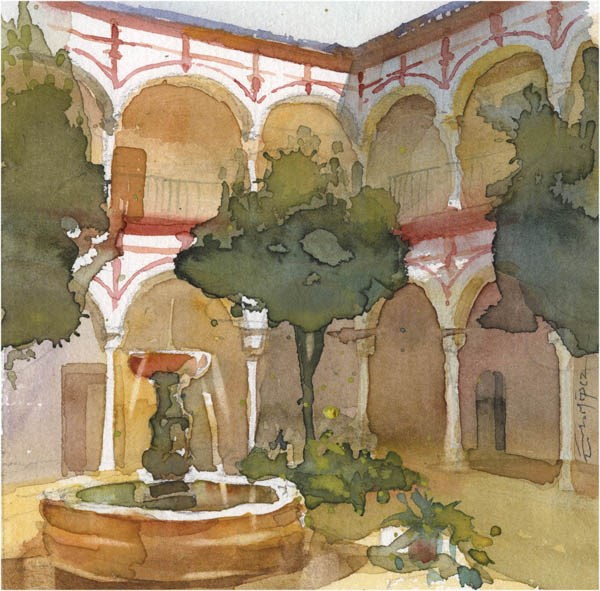 """patio 104"" original fine art by Emilio López"